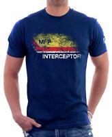 Mad Max inspired MFP Interceptor V8 pursuit car NAVY printed t-shirt FN9279