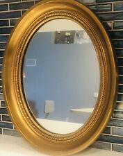 Antique Oval Mirror Gold Gilt Ornate Carved Roped Wood Frame Signed Stamp