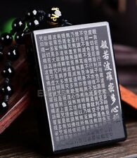 Natural Black Obsidian Carved Buddhism Words Lucky Pendant + Beads Necklace