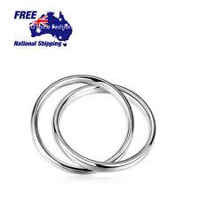 Interlock Hoop Double Circle 925 Sterling Silver Bangles Bracelet