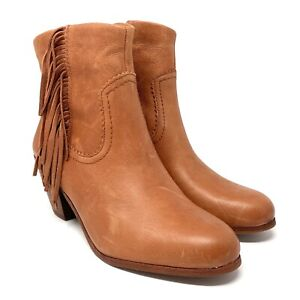 Sam Edelman Louie Cognac Leather Fringed Ankle Booties Boots Western Size 9.5
