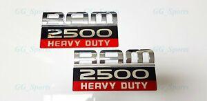 2PCS NEW CHROME RED BLACK DODGE RAM 2500 HEAVY DUTY DOOR BADGES EMBLEMS LETTER
