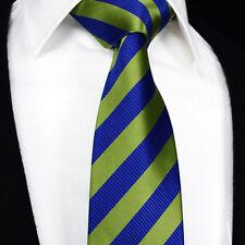 Luxury Da Uomo Cravatta Nozze-Blu Lime Verde Oro a righe-REGALO A Righe Cravatta vendita