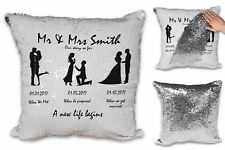 Personalised Mr & Mrs Our Story So Far (Husband Proposal) Sequin Cushion Cover