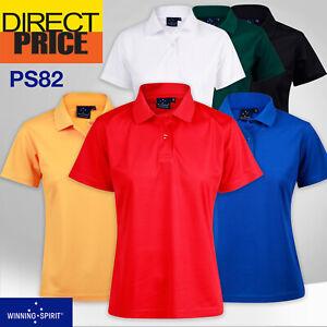 Verve Ladies Polo Shirt CoolDry Soild Colour Short Sleeve Plain Work Sport PS82