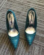 013bdbac10a EUC Womens Dollhouse Shoes High Heels 7 37 Blue Aqua Snake Stilettos
