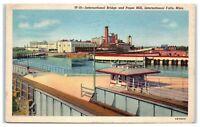 1948 International Bridge and Paper Mill, International Falls, MN Postcard