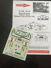DECALS 1/24 ALPINE RENAULT A110 ANDRUET RALLYE TOUR DE CORSE 1972 WRC RALLY