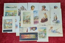 COLLECTION OF 20 WATERCOLORS AND DRAWINGS ON PAPER. SIGNED GORGUES. XXTH CENTURY