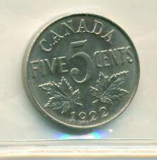 ICCS Canada 1922 5 cents MS-63 Far Rim XRA 554