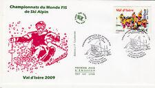 ENVELOPPE 1 er jour timbrée SKI ALPIN VAL D'ISERE 2009 CHAMPIONNATS DU MONDE BIS