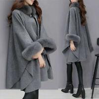 Cape Coat Poncho Fur Wool Collar Women's Sleeve Fashion Winter Faux Flare Ladies