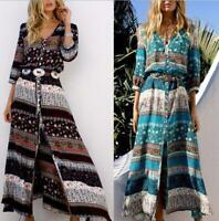Women Summer Boho Long Maxi Dress Cocktail Party Beach Dresses Slit Sundress New