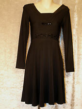 Little Black Dress with Beads on Bodice & Long Sleeve Teenage Leaver Party Frock