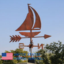 Handmade Rust Sailboat Cottage Weathervane Ornament Crafts Weather Vane Us