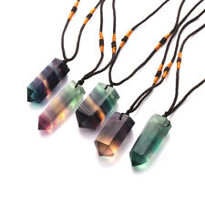 Natural Fluorite Wand Pendant Quartz Crystal Gemstones Hexagonal Reiki Necklace