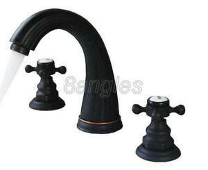 Black oil Antique Brass Three Hole Mount Bathroom Basin Mixer Tap Faucet 8nf282