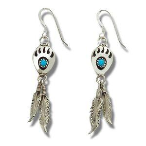 Indianerschmuck Ohrringe Türkis Bärentatze Silberfedern Westernschmuck Navajo