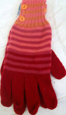 Women Red Maroon Coral Striped Pink Warm Winter Gloves Joe Boxer - New Christmas