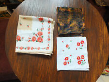 Beautiful Collectible Ladies Handkerchiefs Set 3 Print Embroidered Polyester