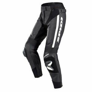 Spidi RR Pro CE Short Leather Pants Motorcycle Motorbike Trouser Black White