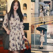 Korean Women Empire Waist Floral Summer Beach Flare Pleated Slim Tunic Dress