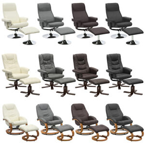Swivel Armchair Set Footrest High Back Padded Seat Office Reclining Lounge Chair