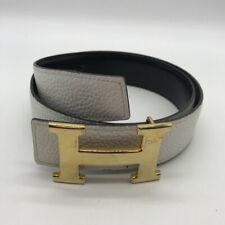 Hermes White Leather Belt Size 80