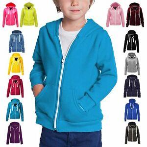 New Kids Unisex Plain Long Sleeve Fleece Hoodie Sweatshirt Tops