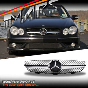Chrome Black SLS Style Front GRILLE GRILL for Mercedes-Benz CLK C209 W209 02-09