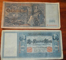 billet 1910 EIN HUNDERT 100 mark WW1 Reichsbanknote REICH MONEY imperial germany