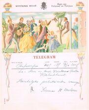 BELGIUM OLD PICTORIAL TELEGRAM USED MUSIC FLUTE GUITAR FLOWERS TREE DOG WEDDING