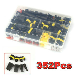 352Pcs 1-4PIN Way Waterproof Car Electrical Wire Connector Plug Set +Blade Fuses