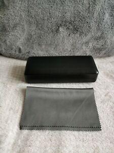 Black Leather Glasses Frames Specs Hard Case and Dark Silver Grey Cloth BNWT