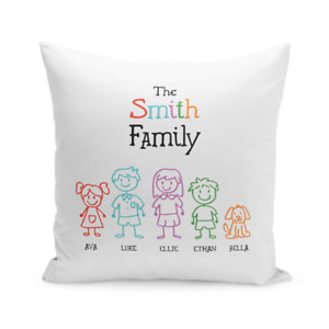 Personalised Family 1 Large Cushion Gift For Whole Family Custom Names