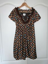 SIGNED MILLY MEDALLION BROWN TURQUOISE PRINT SILK SHORT SLEEVE DRESS 2/XS
