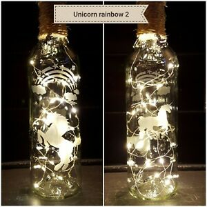 UNICORN RAINBOW 2, HAND ETCHED GREEN BOTTLE TWINE & CHARMS, USB MAINS FREE UK PO