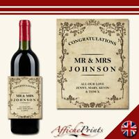 L136 Personalised Vintage Style Wedding Engagement Custom Wine Bottle Label Gift