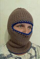 Reversible hand knit wool winter hat  balaclava, ski mask, one size