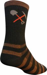 SockGuy Trail Maintenance Wool Socks | 6 inch | Brown/Black | L/XL