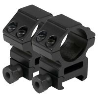 "Tactical 25mm Aluminum Rail Mounted Scope Rings 1"" High Black"