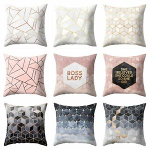 Nordic Style Geometric Cushion Cover Polyester Pillow Case Black And White Home