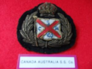 Merchant Navy officers vintage cap badge  Canada Australasia S.S. Co ltd K.C.
