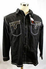 $99 ROYAL PRESTIGE Black Denim Stud Embroidery Button Down Shirt Jacket Coat XL