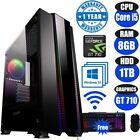 Fast Gaming Pc Computer Bundle Intel Quad Core I5 8gb 1tb Windows 10 2gb Gt710