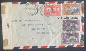 1942 San Fernando Trinidad Censored Airmail Cover To Kern Oil Co Los Angeles Usa