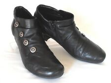 REMONTE Size 10-10.5 M Black Leather Side-Zip Silver-Buttoned Steampunk Booties
