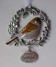 m Thankful Grateful BLESSED BEYOND MEASURE Bird Ornament car charm ganz