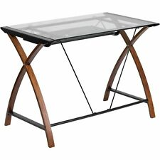 Flash Furniture Glass Computer Desk with Pull-Out Keyboard, Cherry
