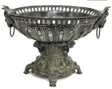 Large Vintage MAITLAND SMITH Solid Bronze Footed Centerpiece Bowl Nudes Lions